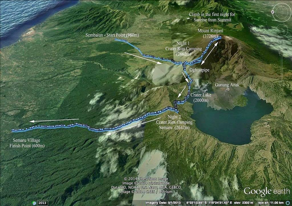 Bản đồ đường leo Rinjani